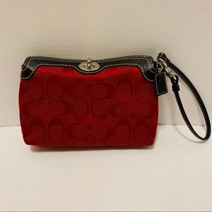 Coach Red & Brown Signature Turn-Lock Wristlet
